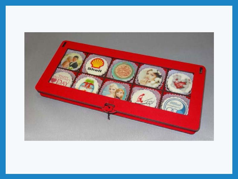 تبلیغ در شکلات طرح مهر جعبه 10 عددی (درب ویترینی)