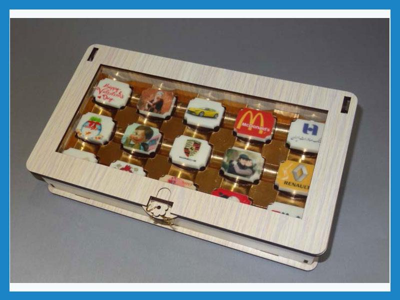 تبلیغ در شکلات طرح ماه جعبه 15 عددی چوبی (درب ویترینی)